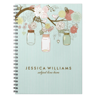 Mint And  Retro Flowers & Mason Jars Spiral Notebook