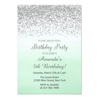 Mint and Silver Birthday Invitation
