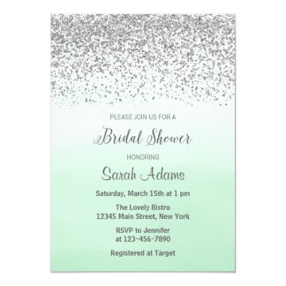 Mint and Silver Bridal Shower Invitation