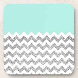 Mint and Silver Faux Glitter Chevron Coaster