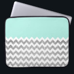 "Mint and Silver Faux Glitter Chevron Computer Sleeve<br><div class=""desc"">Design by Pastel Crown. *Note the glitter texture is photographically.</div>"
