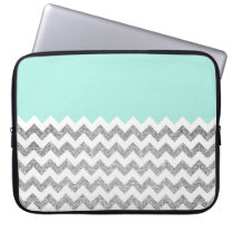 Mint and Silver Faux Glitter Chevron Computer Sleeve