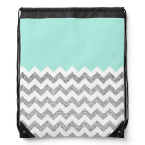 Mint and Silver Faux Glitter Chevron Drawstring Bag