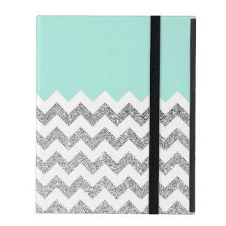 Mint and Silver Faux Glitter Chevron iPad Folio Cases