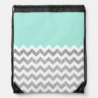 Mint and Silver Faux Glitter Chevron Cinch Bags
