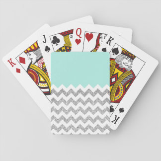 Mint and Silver Faux Glitter Chevron Playing Cards
