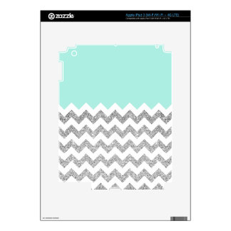 Mint and Silver Faux Glitter Chevron Skins For iPad 3