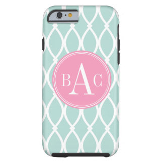 Mint and Soft Pink Monogrammed Barcelona Print Tough iPhone 6 Case