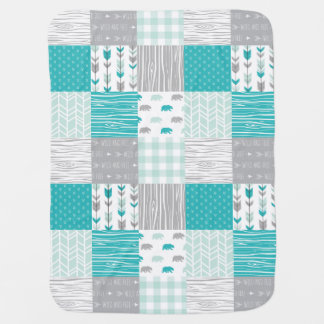 Mint and Teal Modern Woodland Baby Blanket
