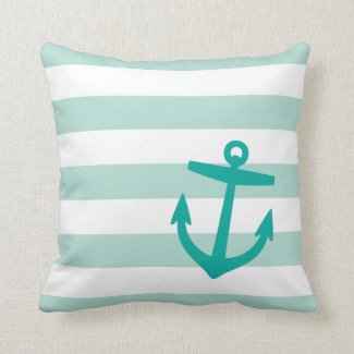 Mint and Teal Nautical Stripes and Cute Anchor Pillow