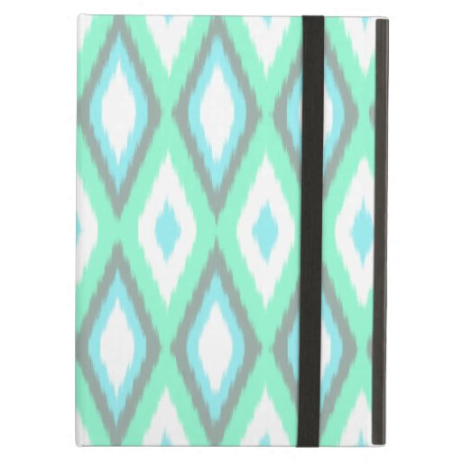 Mint and Turquoise Ikat Pattern iPad Air Cover