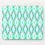 Mint and Turquoise Ikat Pattern Mouse Pad