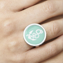 Mint and white Anchor Nautical pattern Photo Rings