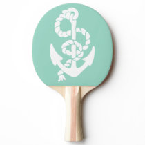 Mint and white Anchor Nautical pattern Ping-Pong Paddle
