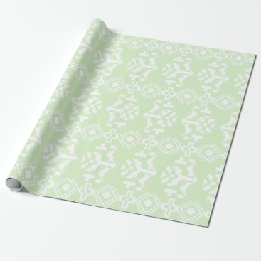 Aztec Themed Mint and White Aztec Floral Stripes Wrapping Paper