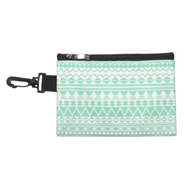Aztec Themed Mint and White Aztec Pattern Accessory Bag