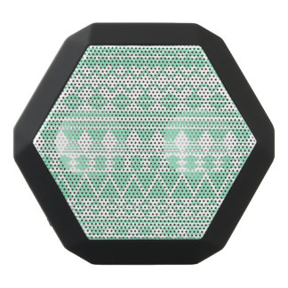 Mint and White Aztec Pattern Black Bluetooth Speaker