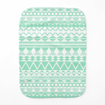 Aztec Themed Mint and White Aztec Pattern Burp Cloth