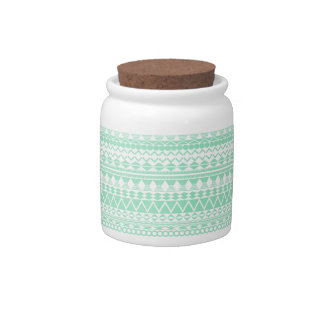 Mint and White Aztec Pattern Candy Jars