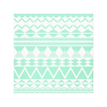 Aztec Themed Mint and White Aztec Pattern Canvas Print