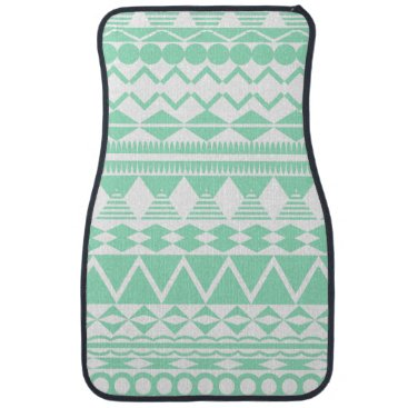 Aztec Themed Mint and White Aztec Pattern Car Floor Mat