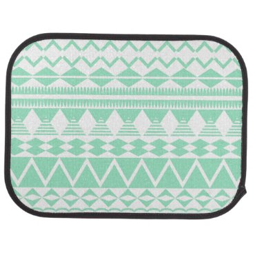 Aztec Themed Mint and White Aztec Pattern Car Mat