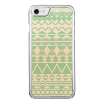 Aztec Themed Mint and White Aztec Pattern Carved iPhone 7 Case