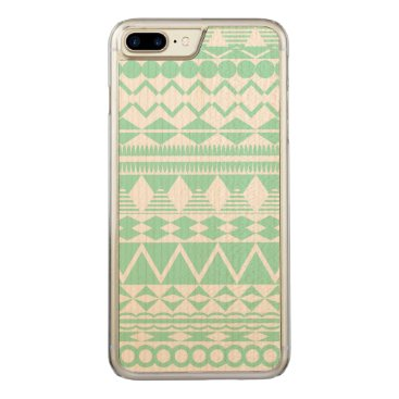 Aztec Themed Mint and White Aztec Pattern Carved iPhone 7 Plus Case