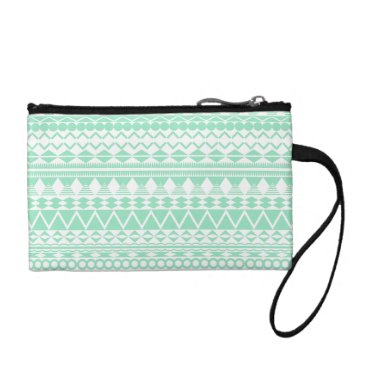 Aztec Themed Mint and White Aztec Pattern Coin Wallet
