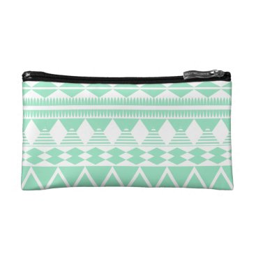 Aztec Themed Mint and White Aztec Pattern Cosmetic Bag