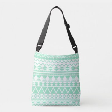 Aztec Themed Mint and White Aztec Pattern Crossbody Bag