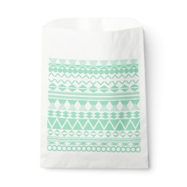 Aztec Themed Mint and White Aztec Pattern Favor Bag