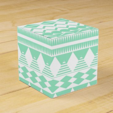 Aztec Themed Mint and White Aztec Pattern Favor Box