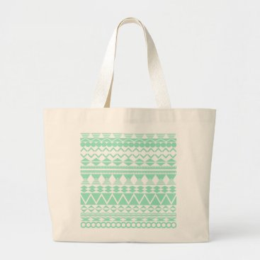 Aztec Themed Mint and White Aztec Pattern Large Tote Bag