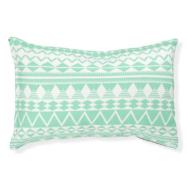 Aztec Themed Mint and White Aztec Pattern Pet Bed