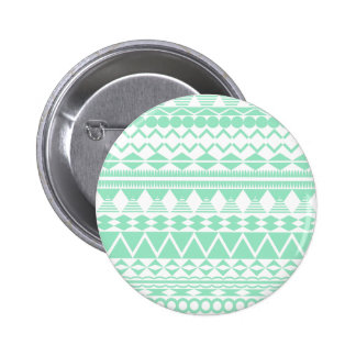 Mint and White Aztec Pattern Pinback Button