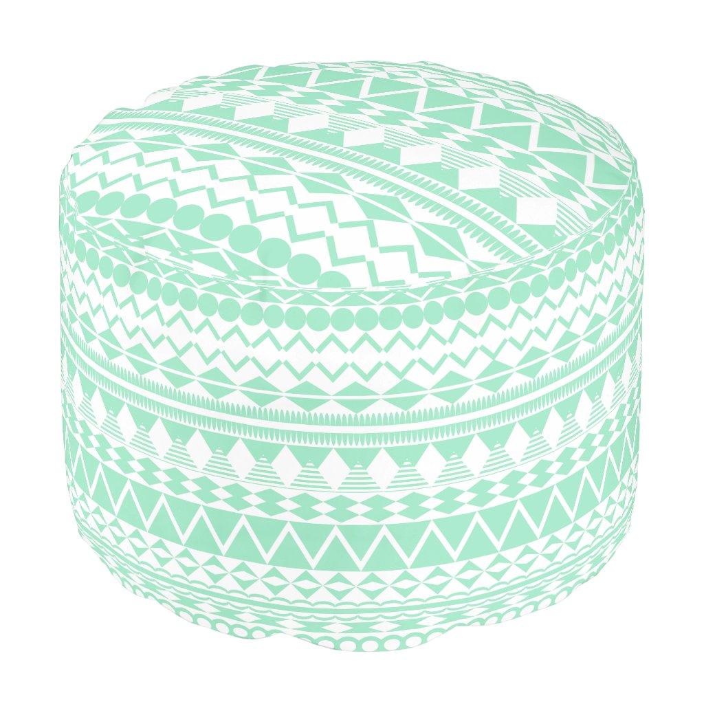 Mint and White Aztec Pattern Pouf