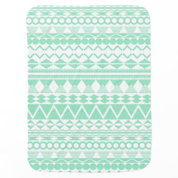 Aztec Themed Mint and White Aztec Pattern Swaddle Blanket