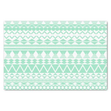 Aztec Themed Mint and White Aztec Pattern Tissue Paper