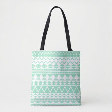 Aztec Themed Mint and White Aztec Pattern Tote Bag