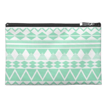 Aztec Themed Mint and White Aztec Pattern Travel Accessory Bag