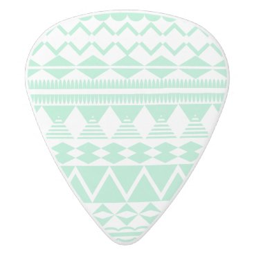 Aztec Themed Mint and White Aztec Pattern White Delrin Guitar Pick