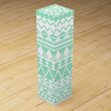 Aztec Themed Mint and White Aztec Pattern Wine Gift Box