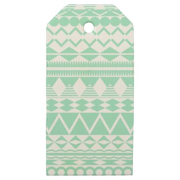 Aztec Themed Mint and White Aztec Pattern Wooden Gift Tags