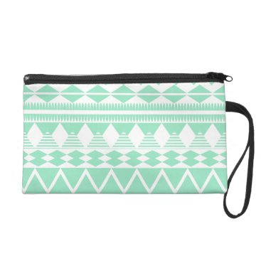 Aztec Themed Mint and White Aztec Pattern Wristlet
