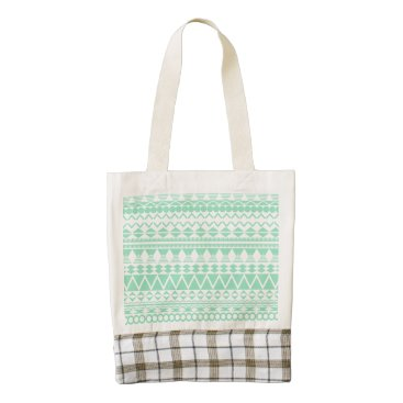 Aztec Themed Mint and White Aztec Pattern Zazzle HEART Tote Bag