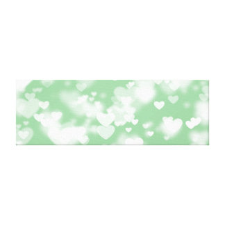 Mint and White Bokeh Hearts Canvas Print
