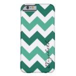 Mint and White Chevron Custom Monogram Barely There iPhone 6 Case