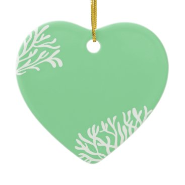 Beach Themed Mint and White Coral Ceramic Ornament
