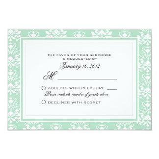 Mint and White Damask Custom Wedding RSVP Card